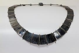 Cleopatra collier zwart zilver met goud