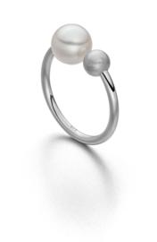 Silberring met 1 grosse  Weiß Perle