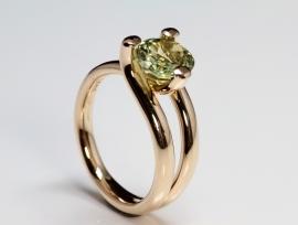 Roségouden solitaire ring met chrysoberyl