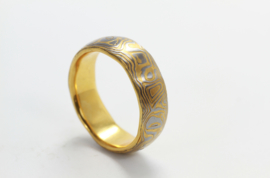 Martin Steinhorst damast ring met goud inleg