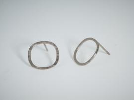 Witgouden cirkel oorbellen