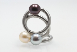 Swivel ring bouton met parel
