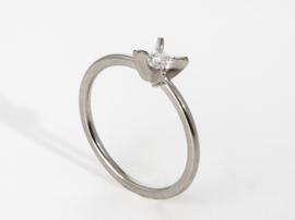 PUR solitair ring platina ( groot )