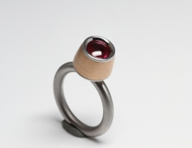 Swivel ring met rosé goud