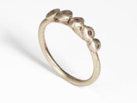 Dripping art ring with purple diamonds tear drops ( mini )