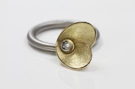 Swivel ring bloem met diamant goud