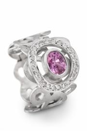 Maier en Beck ring met roze saffier en diamanten
