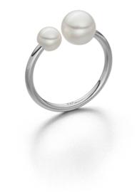 Silbern Ring mit 2 Perle