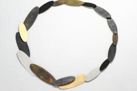 Echo Deco zilveren ovale plaatjes collier