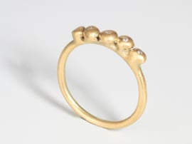 Dripping art ring with tear drops yellow gold ( mini )
