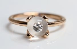 Schmuck werk glas kogel ring met diamant