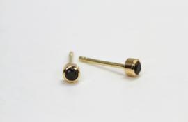 Gouden oorknopjes met zwarte diamant