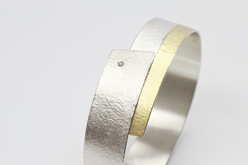 Manu armband zilvergoud en diamant | Expressieve armbanden