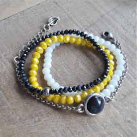 Gele Facet Armband  [1047]