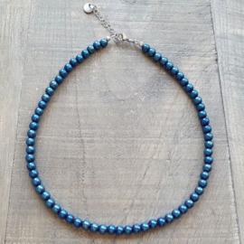 Knalblauwe Hematite Ketting  [2938]