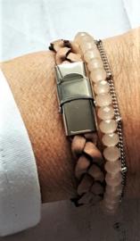 Cognac Gevlochten Armband 10 mm  [1984]