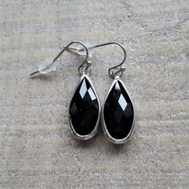 Black Crystal Facetted  Long Drops  [8339]