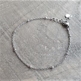 Armbandje RVS Bal Zilver Fijn  [1225]