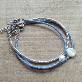 Armbandje Mini Blauw Parelmoer  [1125]