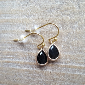 Little Black Facetted Crystal Drops Gold  [8374]