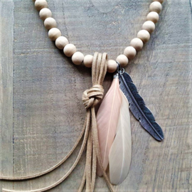 Naturel Wooden Indian Ketting  [2935]