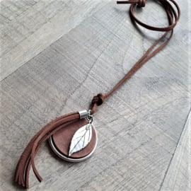 Ketting Leer Bruin  Beautiful Leaf XXL  [2916]