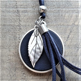 Ketting Leer Diepdonkerblauw Beautiful Leaf XXL  [2963]