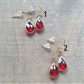 Red Facetted Crystal Drops  [8454]