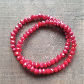 Glanzend Rode Facet Armband  [1301]