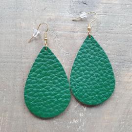 Groene Leren Oorbeldruppels aan Goud/Zilver  [8465]