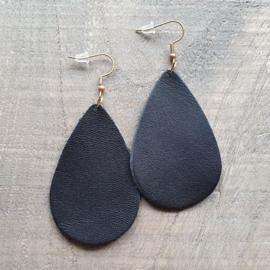 Zwarte Leren Oorbeldruppels aan Goud/Zilver  [8433]