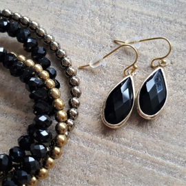 Black Crystal Facetted Long Drops Gold  [8349]