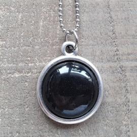 Ketting/Bedel Shiny Black Bol Egaal  [7014]
