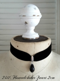 Fluweelchoker Zwart 2 cm  [2411]
