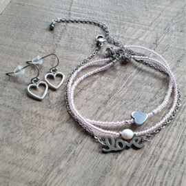 Armbandje Love RVS Zilver  [1201]