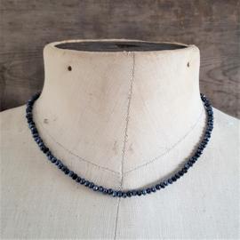 Donkerblauwe Fijne Facet Ketting 4 mm  [2694]