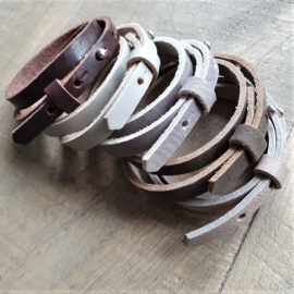 Leren Armband Roze/Taupe  [1110]