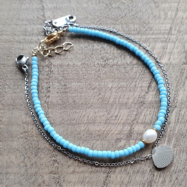 Armbandje Mini Helder Beachblue Zilver/Goud [1208]