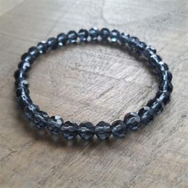 Transparant Zwart/donkerblauwe Facet Armband  [1298]