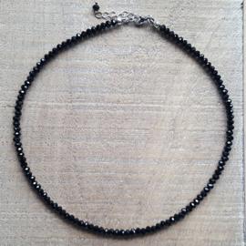 Zwarte Fijne Facet Ketting 4 mm  [2697]