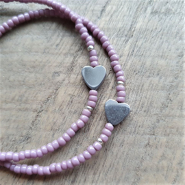Armbandje Mini Lavendel Zilver/Goud  [1206]