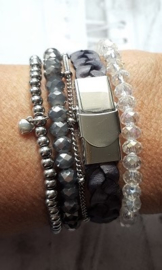 Vintage Blauwbruin Gevlochten Armband 10 mm  [1987]
