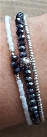Armbandje Mini Wit Donkerblauw  [1128]