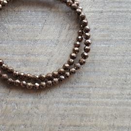 Hematite Brons Goud Facet Armband 4 mm  [1039]