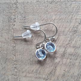 Ronde Facetjes Oorbellen Blauw/Zilver  [8423]