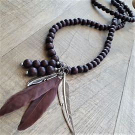 Ruby Brown Wooden Indian Ketting  [2959]