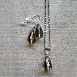 Champagne Greige Crystal Drops 16 mm  [8348]