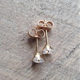 Zirkonia Oorbellen in RVS goud  [8428]