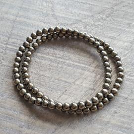 Hematite Antiek Goud Armband  4 mm  [1042]