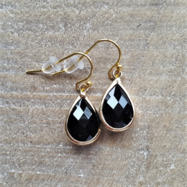 Black Facetted Crystal Drops Gold  [8341]